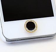 Black Circle Zircon Home Button Sticker for iPhone
