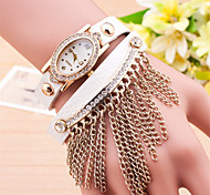 L.WEST Ladies' The Elliptical Dial Tassel Diamonds Belt Quartz Watch Cool Watches Unique Watches