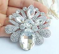 Wedding 2.56 Inch Silver-tone Clear Rhinestone Crystal Bridal Flower Brooch Pendant