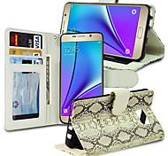 Schlangemuster Flip pu + tpu Brieftasche Ledertasche mit Kartenslots für Samsung-Galaxie Hinweis5 n9200 5,7 Zoll (Farbe sortiert)