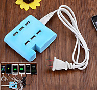 TYD-533 6-Port USB Charger for Android / iOS Devices - Blue (US Plug)