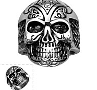Maya Classical Individual Generous Complex Face Skull with Four Bones Stainless Steel Man Ring(Black)(1Pcs)