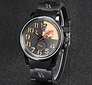 V6 Men's Fashion Dial Rubber Strap Quartz Casual Watch