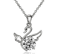 T&C Women's Rhinestone Jewelry 18k White Gold Plated Shining Crystal Fly Swan Pendant Necklace