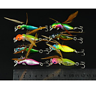 8 Pcs Hengjia Plastic Hard Fishing Lures 4.5CM 3.4G Crankbait 10#Hooks with Wings Feathers