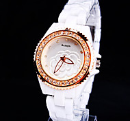 Women's New Upscale Round Crystal Scale Ceramic Dial Flower Pattern Ceramic Band Fashion Life Waterproof Quartz Watch