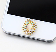 Elliptical Opal Zircon Home Button Sticker for iPhone