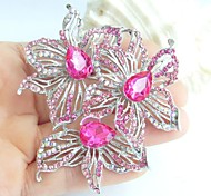 2.76 Inch Silver-tone Pink Rhinestone Crystal Flower Brooch Pendant Art Decorations