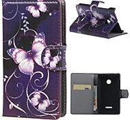Purple Butterfly Wallet Leather With Card Slots Flip Cover Case For Microsoft  Nokia Lumia 435 Phone Bags Cases