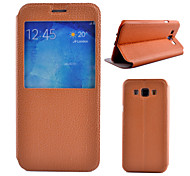 For Samsung Galaxy Case with Stand / with Windows / Flip Case Full Body Case Solid Color PU Leather Samsung A8 / A7 / A5 / A3