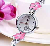 nova maré atual padrão de flor de diamante rodada Dial banda de liga de moda pulseira quartzo relógio das mulheres (cores sortidas)