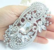 Wedding 4.13 Inch Silver-tone Clear Rhinestone Crystal Flower Brooch Pendant