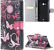 Black Butterfly PU Leather Wallet Full Body Case with Stand for Microsoft Lumia 540