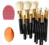 12pcs reine Wolle Make-up Pinsel + Bürstenreinigungswerkzeug + Beauty Make-up Grundlage Ei puff (sortierte Sets)