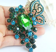 2.95 Inch Gold-tone Blue Green Rhinestone Crystal Butterfly Flower Brooch Pendant Art Decorations