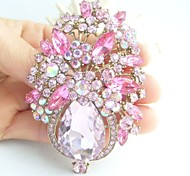 Gorgeous 3.15 Inch Gold-tone Pink Rhinestone Crystal Flower Brooch Pendant