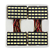Lorcoo™ 4Pcs Black 24 LED Panel 5050 SMD Dome Light Lamp + T10 BA9S Festoon Adapter