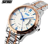 SKMEI Men's Stainless Steel Watch Band Alloy Case Waterproof Luminous Date Display Quartz Watch (more colors)