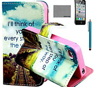COCO FUN® Future Road Pattern PU Leather Case with Screen Protector and USB Cable and Stylus for iPhone 4/4S