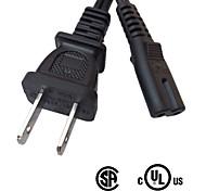 KAIHUA® Standard UL Power Cord 10A 125V 2 Pin Plug to IEC C7 Socket SPT-2 18AWG/2C Black(180cm)