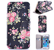 Black Pink Flowers Pattern PU Leather Phone Case For iPhone 5C