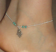 Women's Simple Palm Pendant Beaded Anklet
