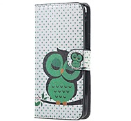 For Acer Z520 Cover Green Owl Pattern Leather Wallet Flip Stand Case Acer Liquid Z520 Cell Phone Cases