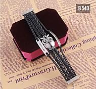 Black Handmade Woven Bracelet Animal Metal Bangle Jewelry