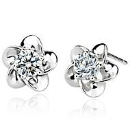 Woman Plum Zircon Silver Earrings