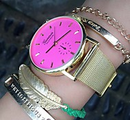 Fashion Watch Women Golden Alloy Belt Geneva Colored Surface Wrist Watch