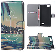 Anchor and Beach  PU Leather Wallet Flip Stand Case cover For Huawei Honor 4C Mobile Phone Cases Covers
