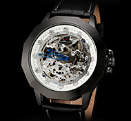 FORSINING Men's Vintage Skeleton Black Auto Mechanical Leather Strap Watch