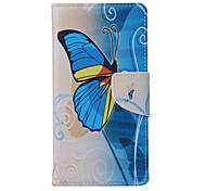 Blue Butterfly PU Leather for GALAXY S5/S6/S6Edge/S6Edge plus