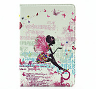 Butterfly Girl Pattern Diamond Inlay Pattern PU Leather Full Body Case With Stand for iPad Mini 4