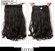 "Neitsi® 1pc 110g 22"" 3/4 Full Head 5clips Kanekalon Synthetic Braiding Hair Pieces Clip In/on Wavy Extensions"