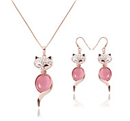Diamond Fox Opal Jewelry Set