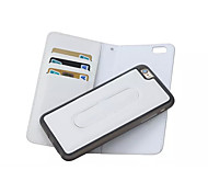 Magnetic Detachable Wallet Leather Case With Clips Stand Shrapnel Stents Cover For iphone 6(Assorted Color)