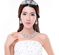 3pcs/Set Rhinestones Crystals Necklace Earrings Crown Wedding Bridal Jewelry
