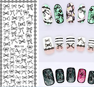 Big Page Water Transfer Printing Black Bowknot Nail Stickers