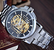 Men's Round Alloy Dial Leather Strap Automatic Mechanical Waterproof Watch(Assorted Colors) Wrist Watch Cool Watch Unique Watch