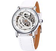 Mulheres Relógio Elegante Automático - da corda automáticamente Gravação Oca Couro Banda Preta Branco Vermelho MarromBranco Preto