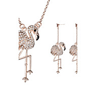 Women Wedding Bridal Party Dress Full Rhinestone Swan  Animal Shape Pendant Necklace Earrings Two-piece