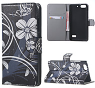 White Flowers Leather Wallet Flip Stand Case cover For Huawei Honor 4C Mobile Phone Cases Covers