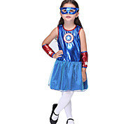 Halloween / Christmas / Carnival / Children's Day / New Year Kid Super Heroes Costumes Dress / Sleeves / Mask