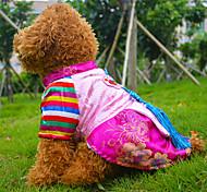 blau / rosa Edel hanbok Arten Baumwollkleider Kleidung für Hunde