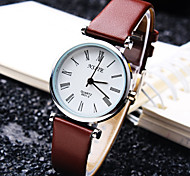 Women's Business Round Trend Rome Number Dial PC Movement Leather Strap Fashion Quartz Watch (Assorted Colors)