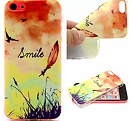 Smiling Face Feathers Words Phrase Pattern 0.6mm Ultra-Thin Soft Case for Apple iPhone 5/5S