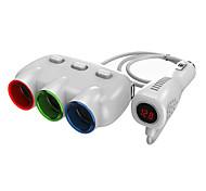 carregador de carro com tensão, corrente liderada display.3-soquetes DC Power Adapter soquetes carregador duplo USB para iPhone e outros