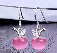 Woman Opal Apple Silver Earrings
