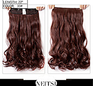 "Neitsi® 1pc 110g 22"" 3/4 Full Head 5clips Kanekalon Synthetic Braiding Hair Pieces Clip In/on Wavy Extensions 33#"